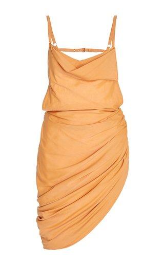 La Saudade Draped Crepe Open-Back Mini Dress