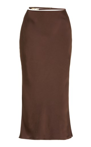 La Jupe Chain-Detailed Satin Midi Slip Skirt