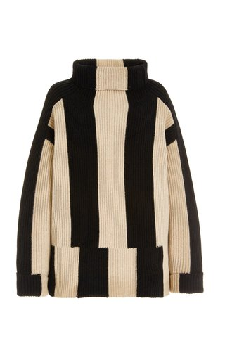 Oversized Striped Ribbed-Knit Wool Turtleneck Sweater