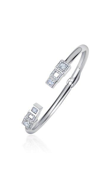 Frosted Ice 18K White Gold Diamond Bracelet Cuff