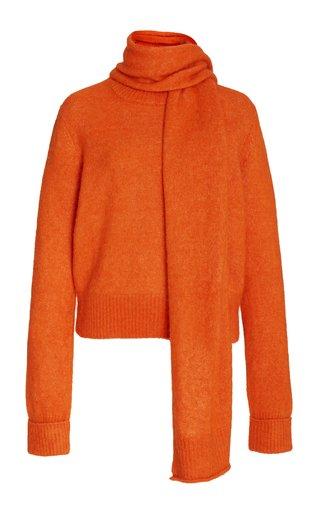 Bernard Scarf-Accented Alpaca-Blend Knit Sweater