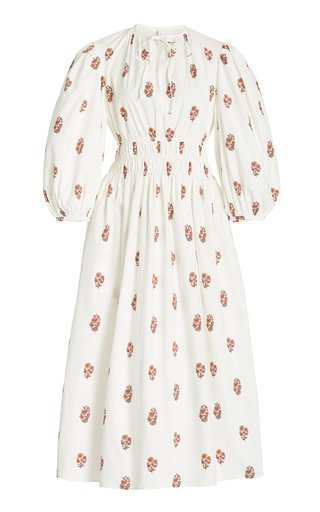 Georgina Smocked Floral Cotton Midi Dress