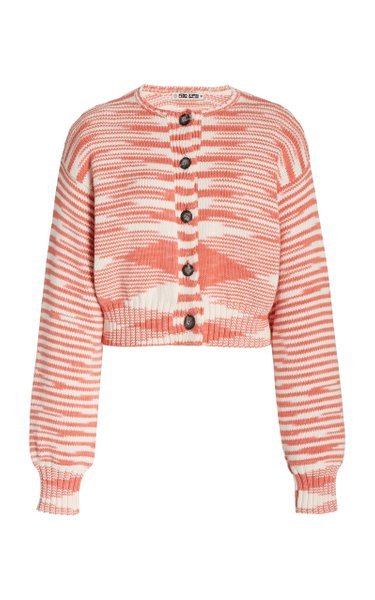 Varese Cotton Jacquard-Knit Cardigan