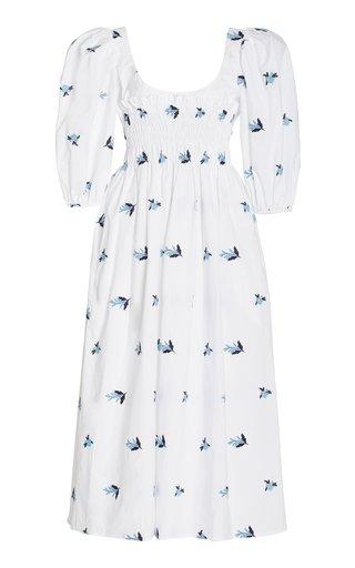 Veneto Smocked Embroidered Cotton Midi Dress