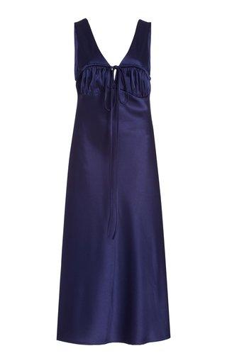 Carolinne Tie-Accented Satin Midi Dress