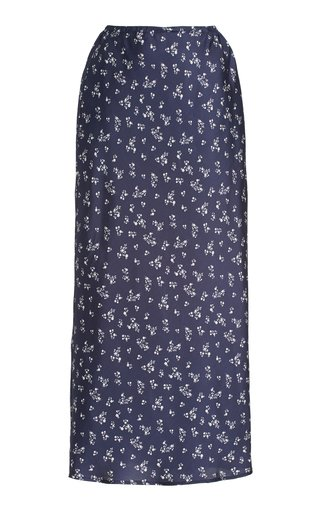 Concetta Floral Silk Midi Slip Skirt