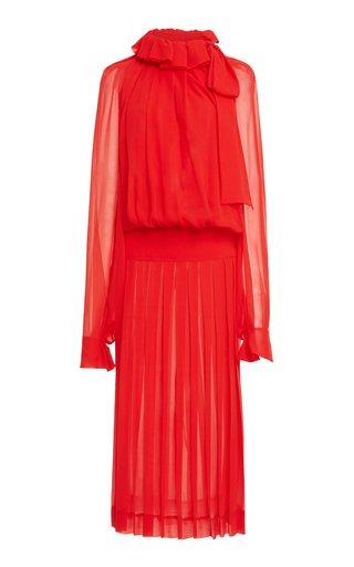 Draped Gathered Silk Midi Dress