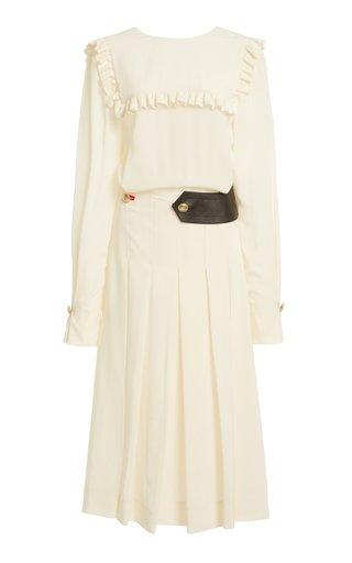 Belt-Detailed Ruffled Silk Midi Dress