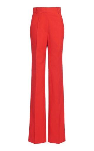 Straight Leg Cotton-Blend Pants