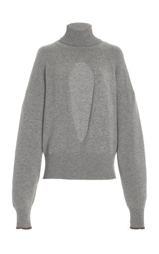 Oversized Cutout Cashmere-Blend Turtleneck Sweater