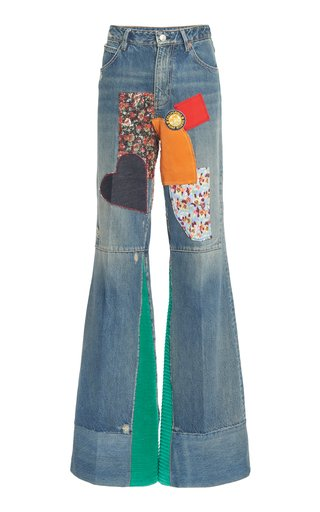 Rigid Patchwork Flared Jeans
