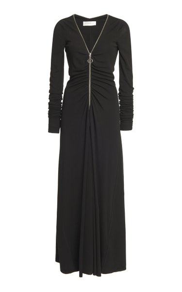 Zip-Detailed Wool Jersey Maxi Dress