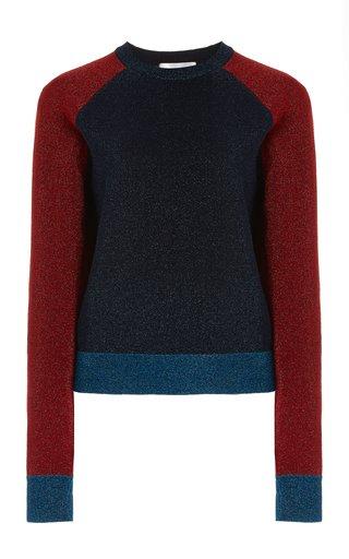 Metallic Colorblocked Cotton-Blend Sweater