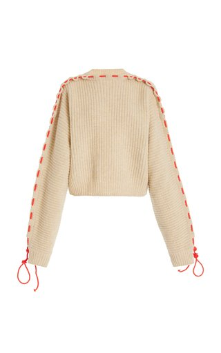 Cord-Detailed Oversized Wool Sweater