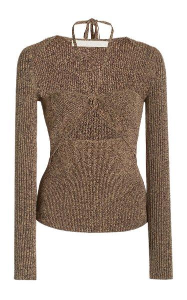 Alexia Cutout Ribbed-Knit Top