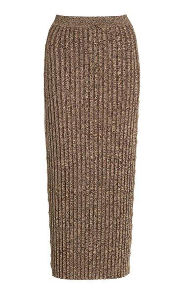 Ashton Button-Detailed Ribbed-Knit Maxi Skirt