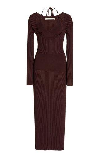 Liza Layered Ribbed-Knit Midi Dress