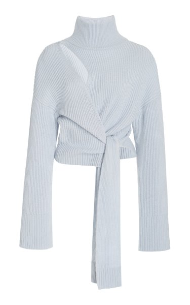 Amaris Spliced Ribbed-Knit Wrap Sweater