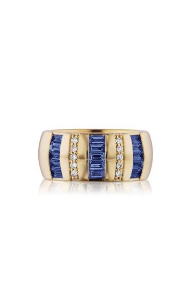Tarot 18K Yellow Gold Sapphire, Diamond Ring