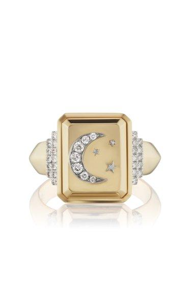 Crescent Moon 18K Yellow Gold Diamond Signet Ring
