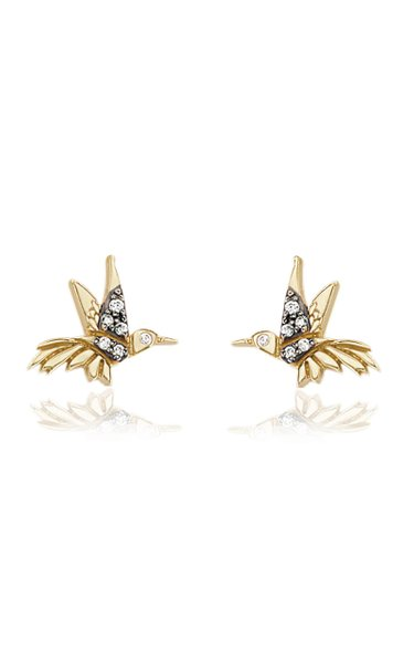Hummingbird 18K Yellow Gold Diamond Earrings