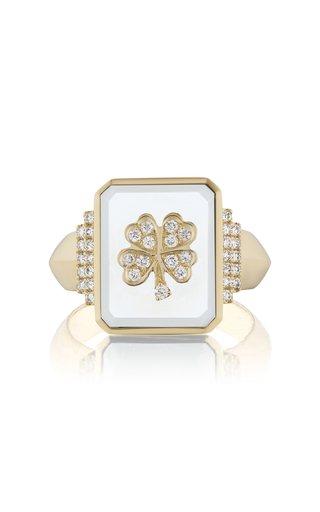 Clover 18K Yellow Gold Onyx, Diamond Signet Ring