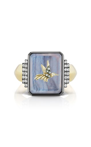 18K Yellow Gold Hummingbird Signet Ring