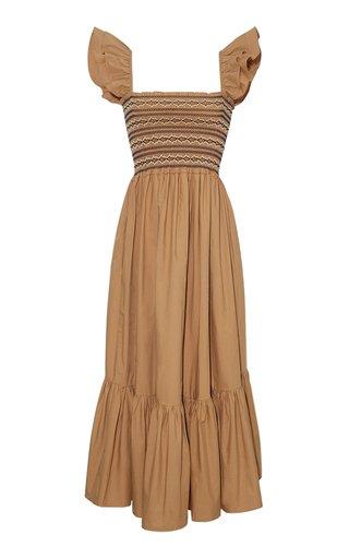 Ruby Smocked Cotton Poplin Midi Dress