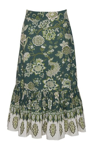 Lynn Printed Cotton Poplin Midi Skirt