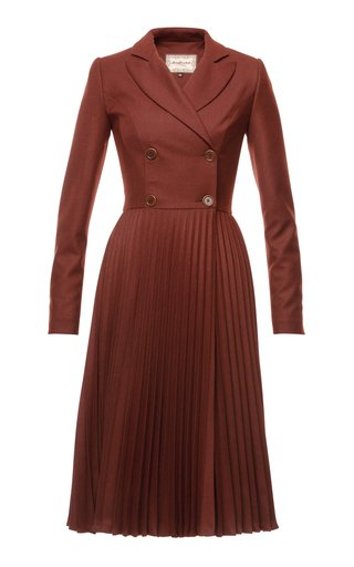 Fireplace Double-Breasted Wool-Blend Midi Dress