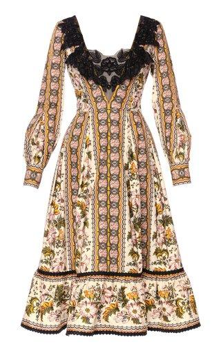 Glasshouse Collared Floral Cotton Midi Dress