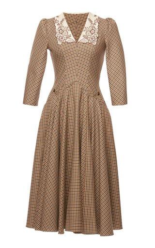 Henriette Collared Woven Plaid Midi Dress
