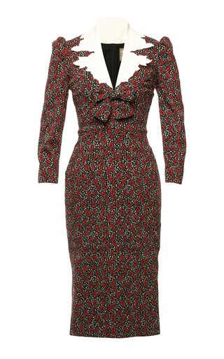 Lizzie Collared Floral Woven Sheath Dress