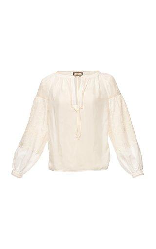 Mina Puffed-Sleeve Cotton-Silk Peasant Blouse