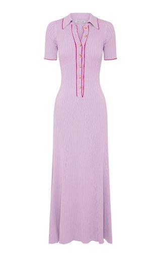 Laurel Ribbed-Knit Cotton Maxi Polo Dress