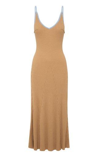 Scarlet Ribbed-Knit Cotton Midi Dress