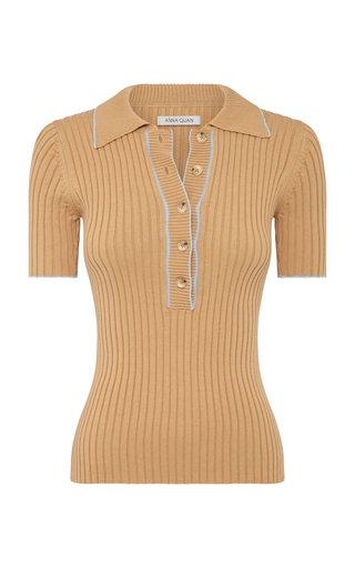 Eden Ribbed-Knit Cotton Polo Top