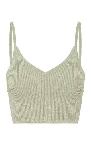 Nellie Ribbed-Knit Cotton-Blend Crop Top