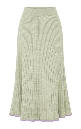 Felicia Ribbed Cotton Midi Skirt