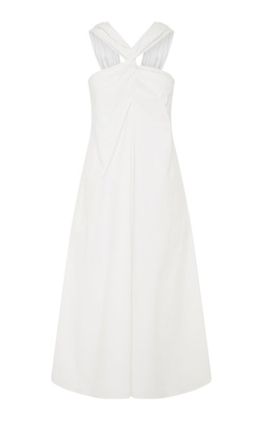 Katelyn Twist-Detailed Cotton-Blend Midi Dress