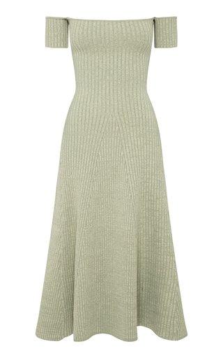 Valerie Ribbed Cotton-Blend Off-The-Shoulder Midi Dress