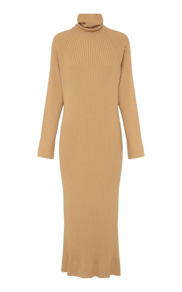 Rosaline Ribbed Cotton Midi Sweater Dress