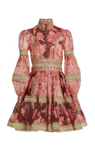Concert Mixed-Print Linen-Silk Mini Dress