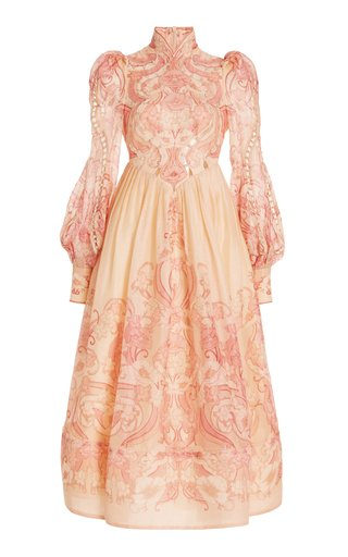 Concert Poppy-Print Silk-Cotton Midi Dress