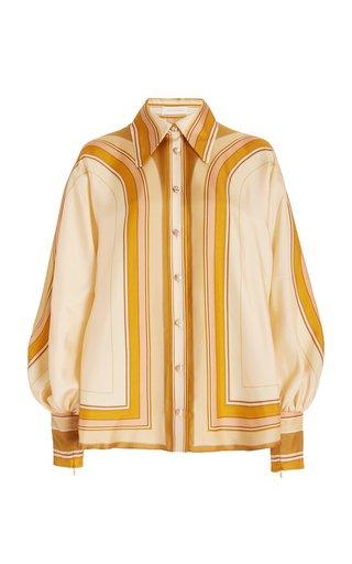 Tempo Poet-Sleeve Printed Silk Shirt
