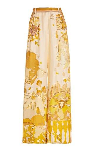 Tempo Pleated Printed Silk Wide-Leg Pants