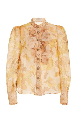 Tempo Crystal-Embellished Ruffled Floral Silk Shirt