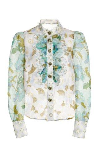 Rhythm Ruffled Patchwork-Print Silk Shirt