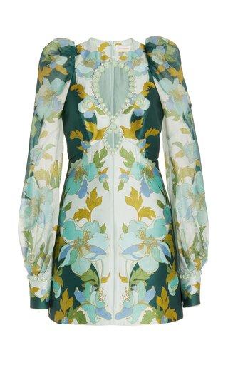 Rhythm Jeweled Silk-Cotton Mini Dress