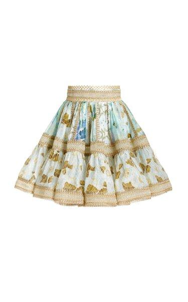 Rhythm Patchwork-Print Linen-Silk Mini Skirt